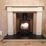 Stone finish fireplace