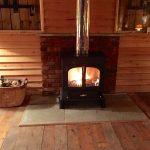 Brick finish fireplace